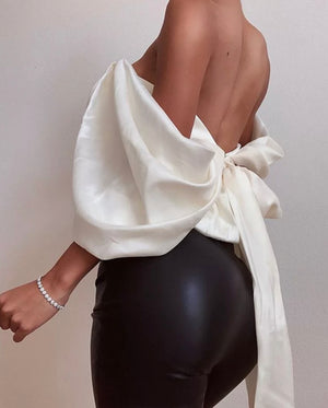 Stefani Draped Big Bow Top