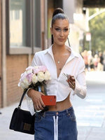 Worn By Bella Hadid: Backless Streetwear Cropped Shirt