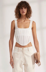 Worn By Bella Hadid: Ribbed Jersey Corset Top