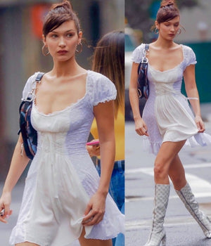 Worn By Bella Hadid: Lace Boho Ruffle Dress
