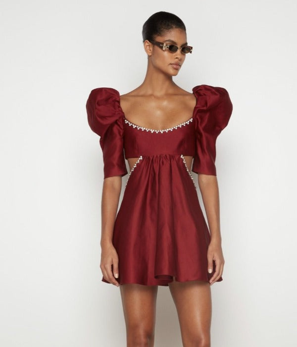 Gracie Embroidered Wrap Mini Dress