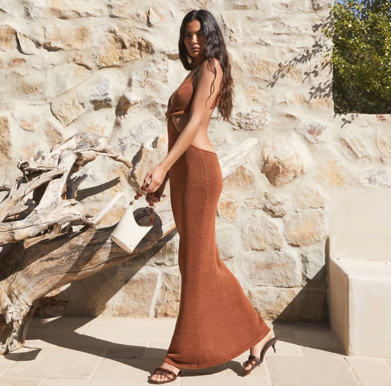 Sahara Cutout Woven Knit Maxi Dress