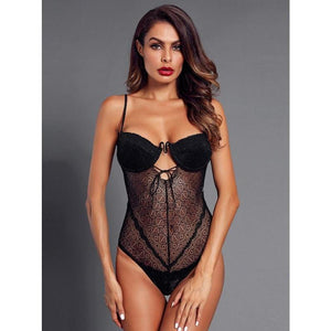Cutout Lace Teddy Bodysuit - ShopHaya.com
