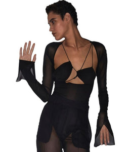 Nensi Tulle Semi-Sheer Bodysuit