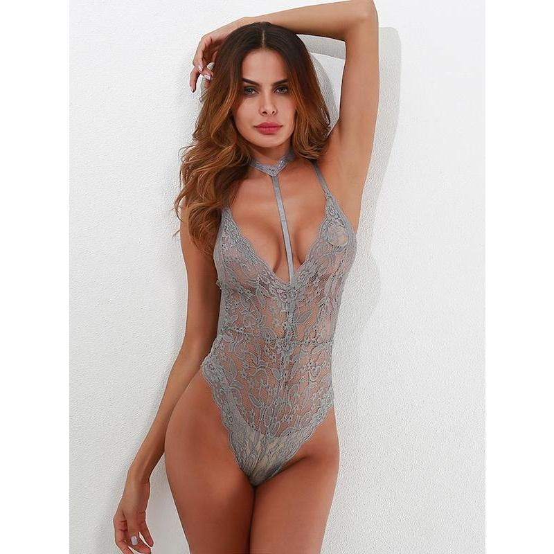 Scallop Trim Cross Back Lace Teddy Bodysuit With Choker - ShopHaya.com