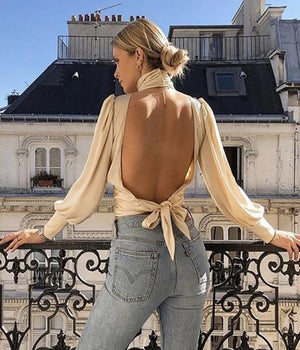 Lulu Turtleneck Backless Top