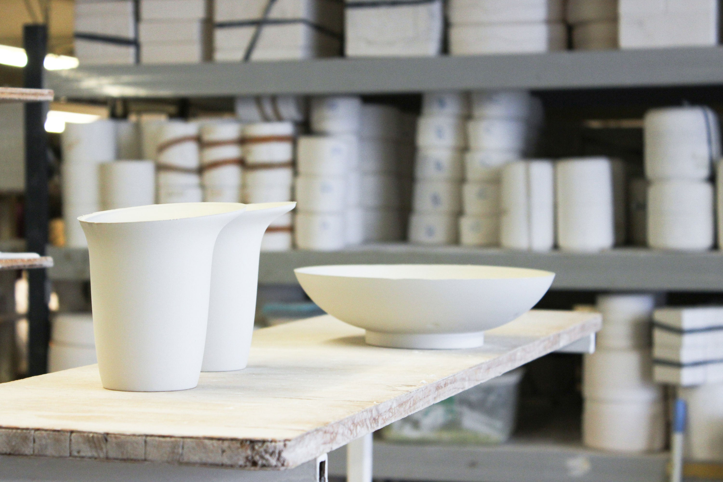White Sculptural Fine Bone China Ceramics Production