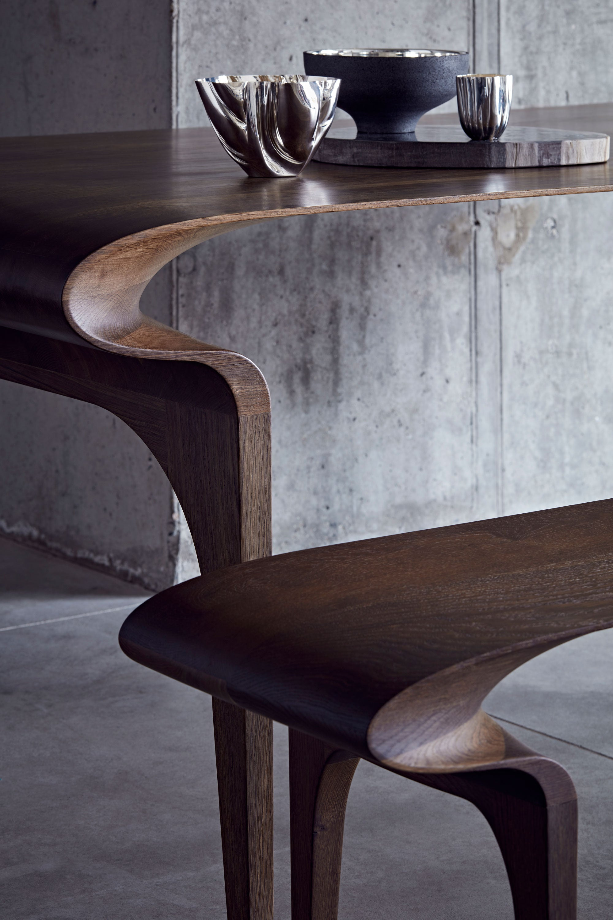 Bodo Sperlein Furniture Designer Silver Designer Contour Table and Bench Handmade in the UK