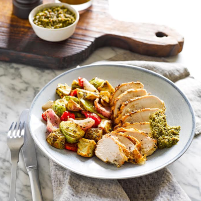 Herbed Chicken with Roast Vegetables and Chimichurri