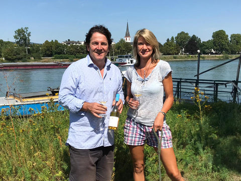 Iris Ellmann and Stefan Lergenmueller at the Schloss Reinhartshausen wine estate in Rheingau
