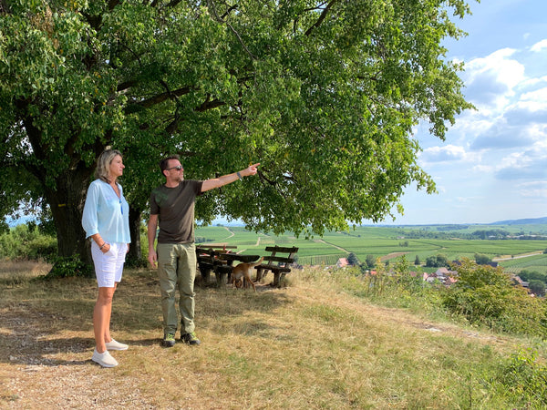 Iris Ellmann and Boris Kranz at Weingut Kranz's vineyards