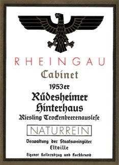 Kloster Eberbach 1953 Rüdesheimer Hinterhaus Riesling Trockenbeerenauslese (0,7l) – auction wine (latest auction 2013)