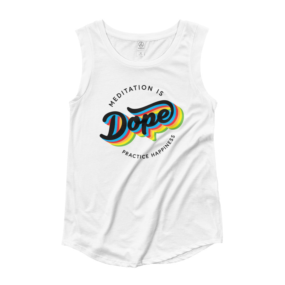 Meditation is Dope Practice HAPPINESS 🌈 Cap Sleeve Tee Women's 💃