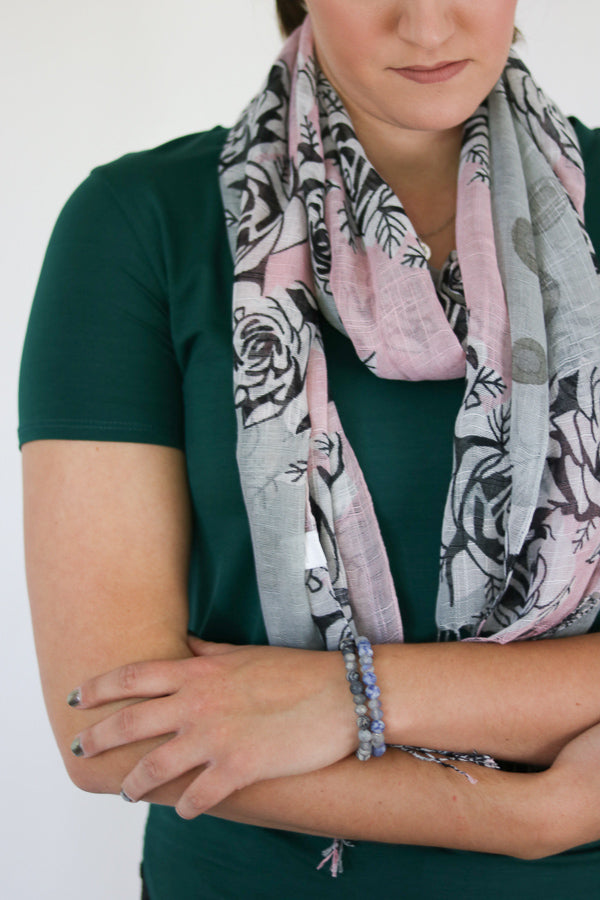 Fringe Rose Print Scarf (See More Colours)