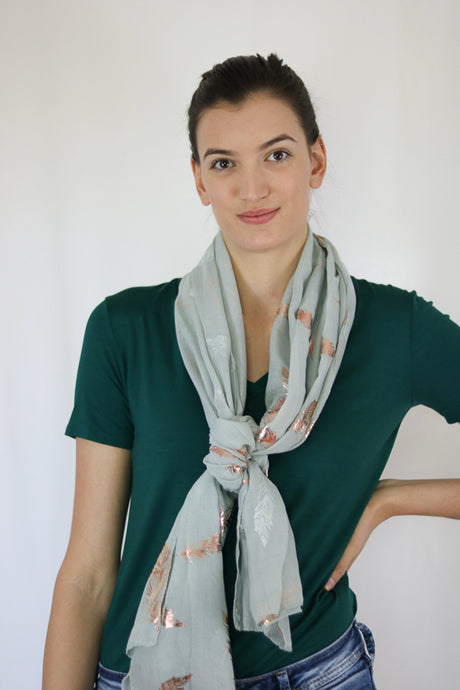 Feather Print Scarf (See More Colours)