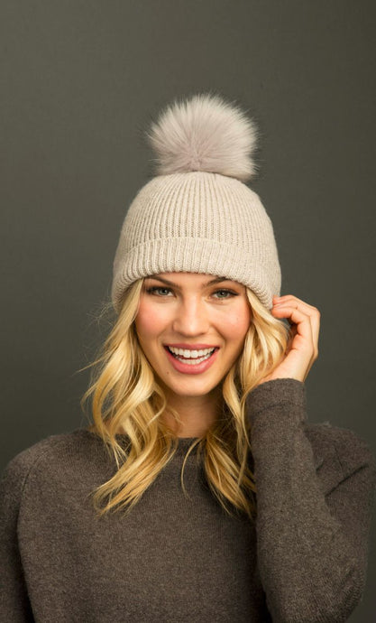 Fluffy Rib Hat with Pom Pom