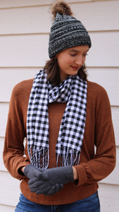 Winter Scarf Plaid With Fringe