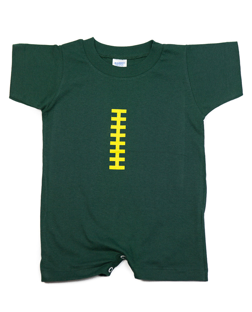 Football Hunter Green & Yellow Romper