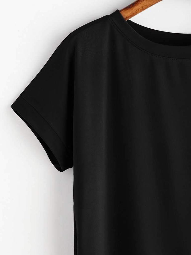 High Low Curved Hem Tshirt