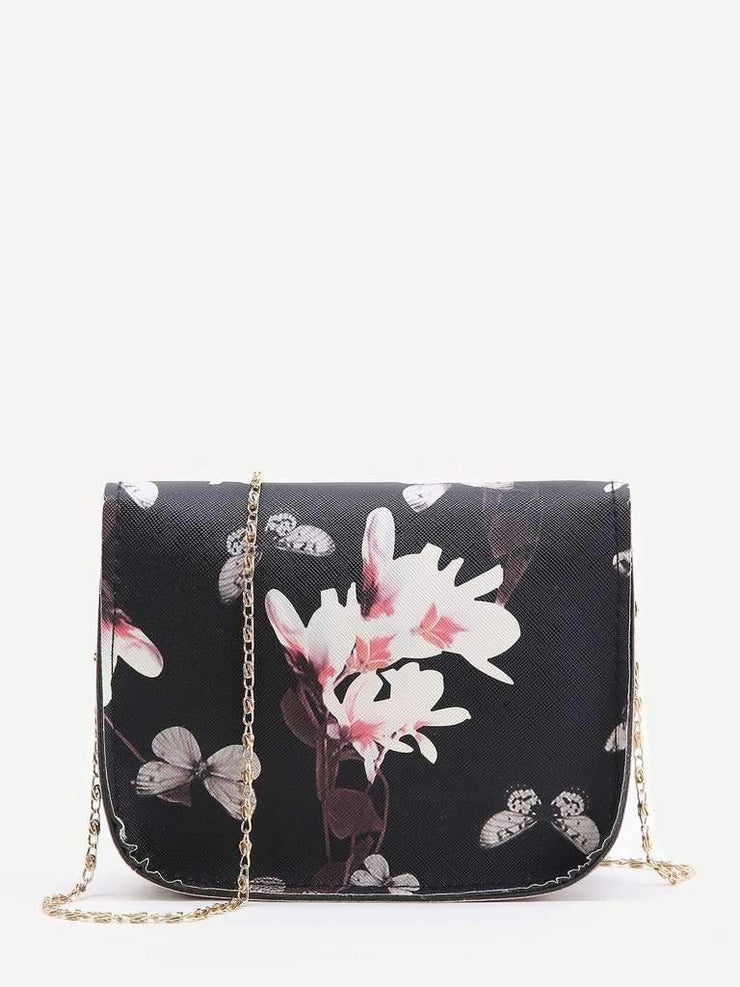 Black Floral Print Chain Bag