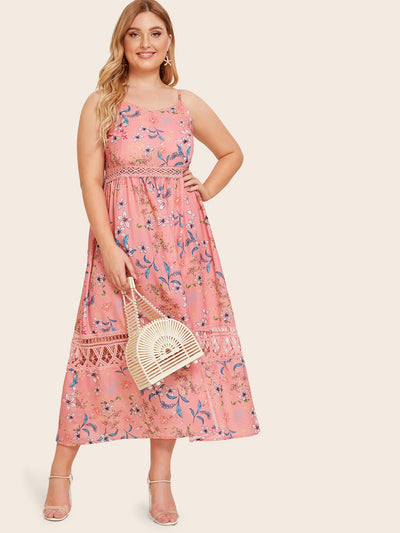 Floral Print Contrast Lace Cami Dress