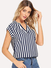 V Neck Striped Blouse