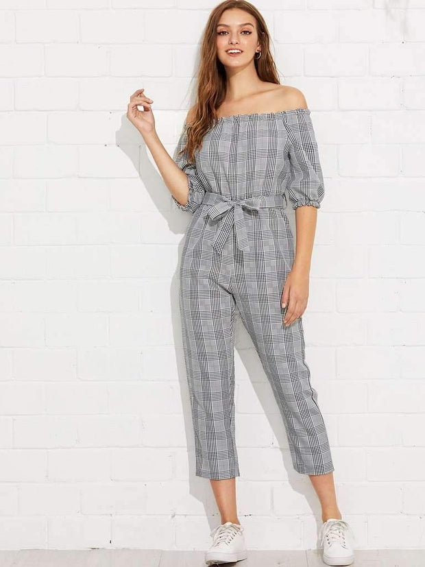 Off Shoulder Tie Waist Plaid Jumpsuit