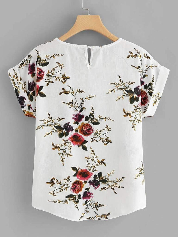 Floral Print Cut Out Back Asymmetrical Hem Blouse
