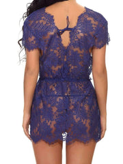 Eyelash Lace Deep-V Dress With Thong