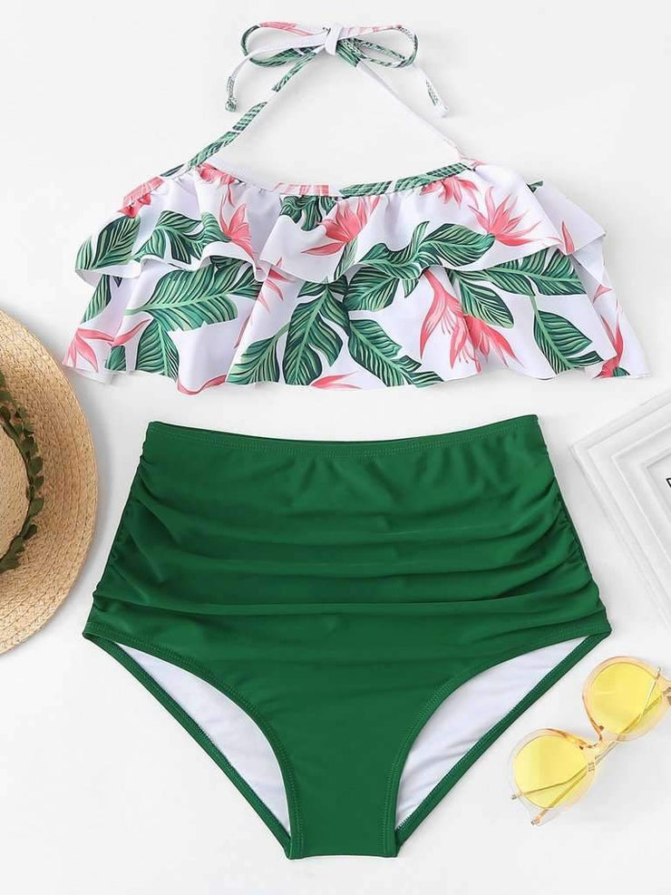 Jungle Print High Waist Bikini Set