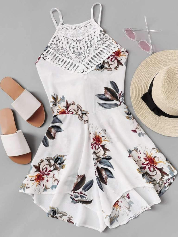 Criss Cross Knot Back Floral Romper