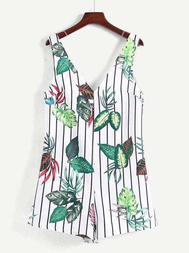 Jungle Print Zip Back Romper