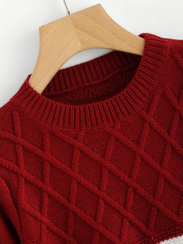 Color Block Texture Knit Sweater