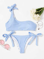 Tie Side One Shoulder Striped Bikini