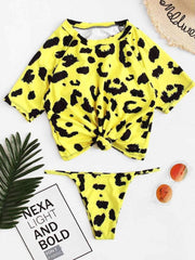 Leopard Knot Front Two Piece Swimwear