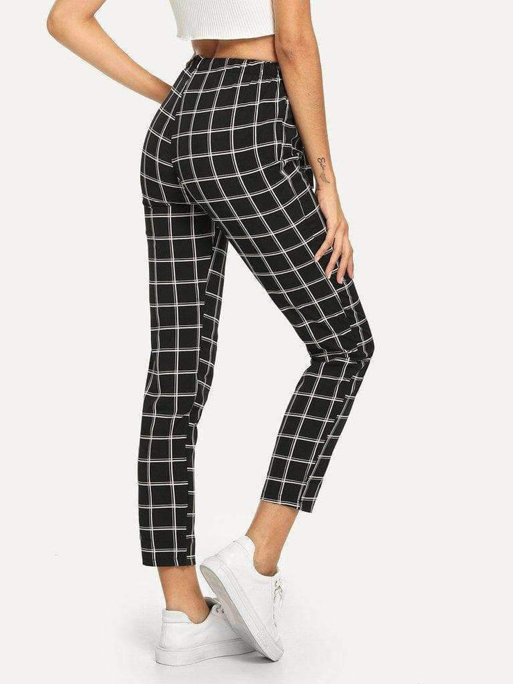 Self-Tie Plaid Pants