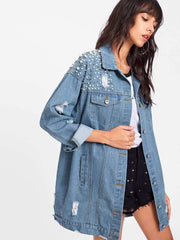 Pearl Beaded Detail Ripped Denim Jacket