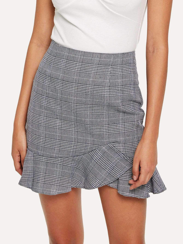 Ruffle Hem Checked Skirt