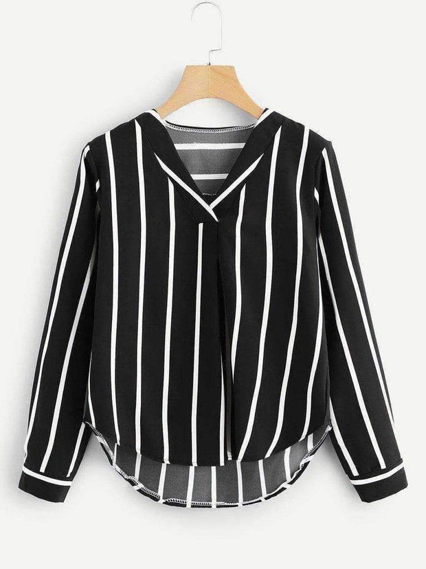 V Neck Striped Top