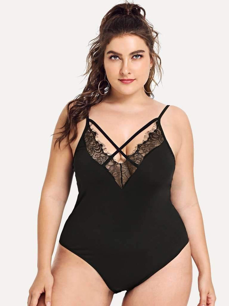 Criss Cross Lace Trim Bodysuit