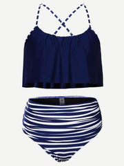 Striped High Waist Bikini Set