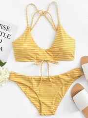 Striped Strappy Bikini Set