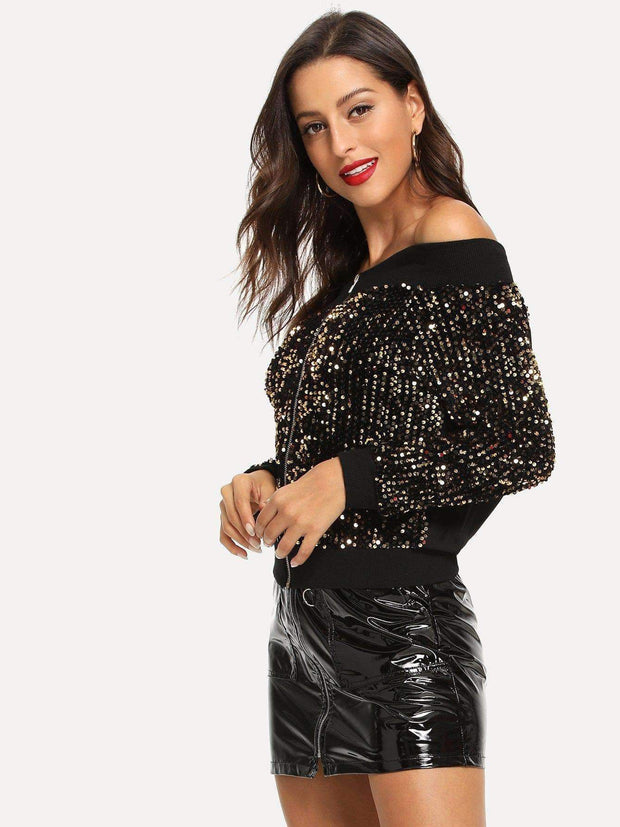 Off-Shoulder Sequins Jacket