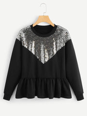 Sequins Ruffle Hem Sweater