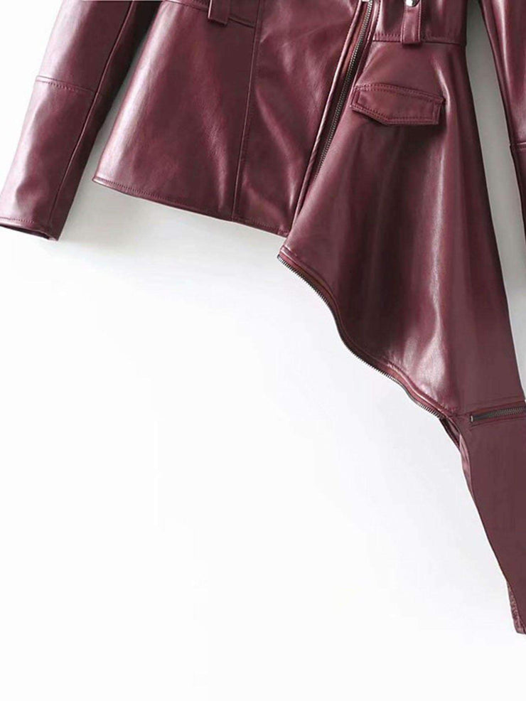 Faux Leather Asymmetric Biker Jacket