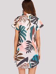 Botanical Print Asymmetrical Dress