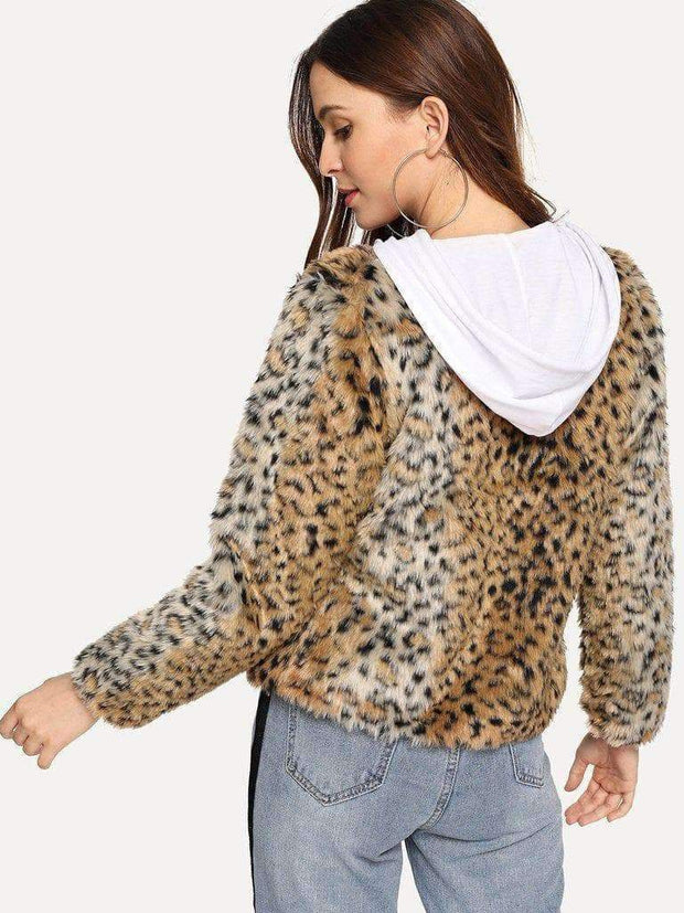 Leopard Print Open Coat