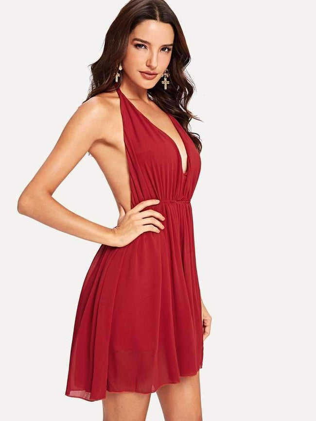 Backless Halter Skater Dress