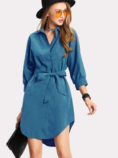 High Low Curved Hem Shirt Dress