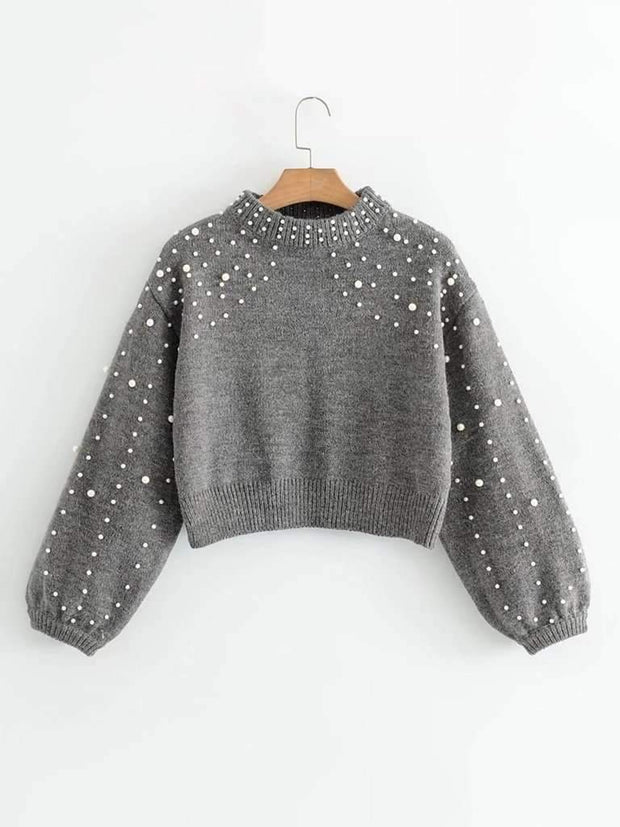 Lantern Sleeve Faux Pearl Crop Sweater